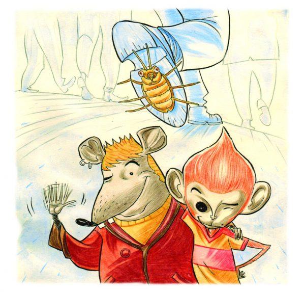 """Una delle illustrazioni finali tratte dal racconto """"L'invasione degli scarafaggi, la Mafia spiegata ai bambini"""""""