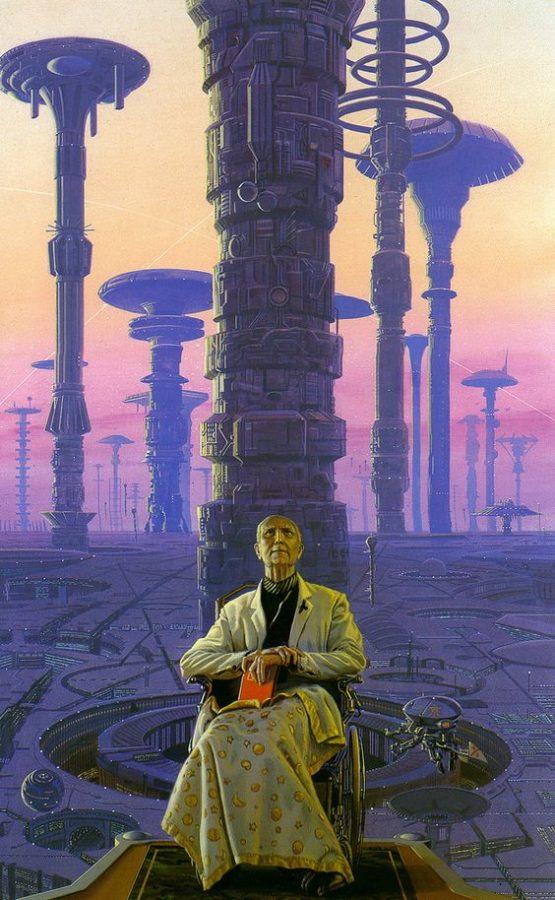 """IMMAGINE 11 -Hari Seldon : """"L'anziano Hari Seldon, sulla sedia a rotelle"""", autore Michael Whelam © 1980"""