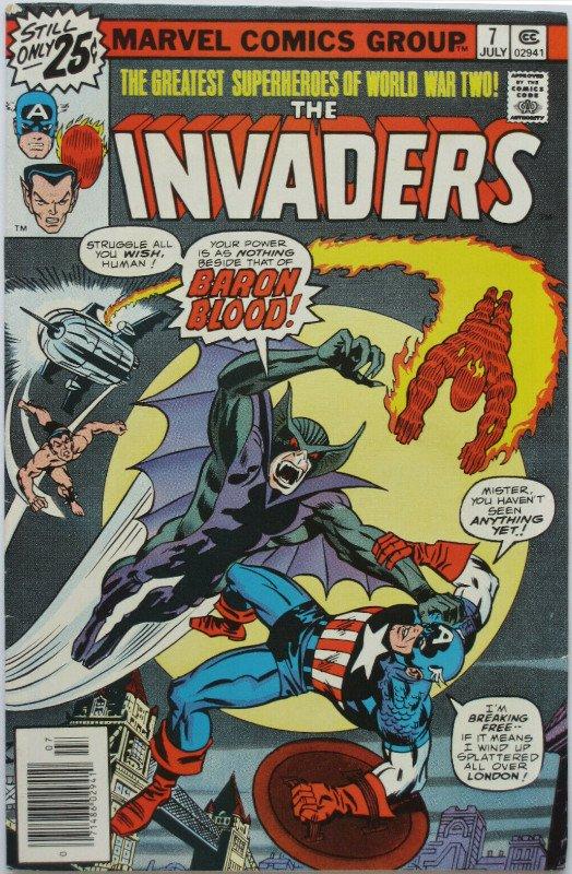 In Invaders 7 ci sono  le 1a app di Union Jack e Baron Blood, classici amico/nemico di Cap