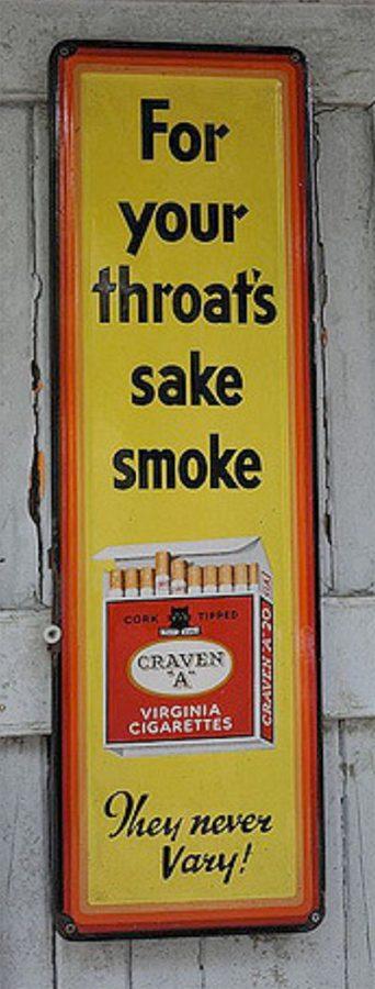 """Craven A sigarette che erano commercializzate con lo slogan: """"Per la salute della tua gola"""""""