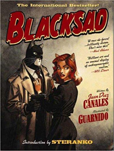 Blacksad, eroe della serie in corso di romanzi grafici ad opera dello scrittore Juan Diaz Canales e Juanjo Guarnido, in origine pubblicati dall'editore francese Dargaud e successivamente in diverse altre nazioni. Raccomando assolutamente queste storie Chandleriane circa un detective privato negli anni Cinquanta, ambientate a Los Angeles.