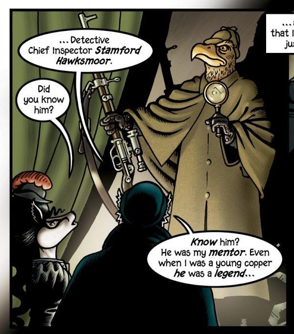 Stamford Hawksmoor:così inizia il mio enorme omaggio a Sherlock Holmes. Come potete vedere è un'aquila dorata. Holmes era spesso descritto avete un naso aquilino (aquilino: 1. Relativo o avente le caratteristiche di un'aquila. 2. Curvo o adunco come un becco d'aquila: un naso aquilino).