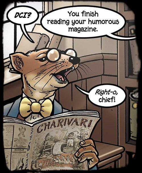 Grandville: Force Majeure - pagina 33, vignetta 6: Stoatson sta leggendo Punch, la rivista di humour e satira inglese, o The London Charivari, pubblicato per la prima volta nel 1841 ed in stampa per oltre cent'anni.