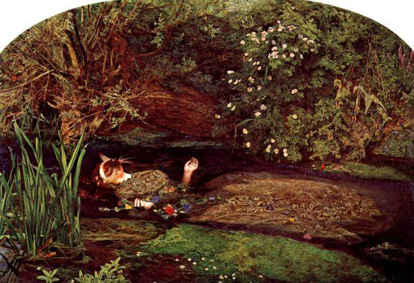 Grandville: Force Majeure - pagina 36, vignetta 5: Millais usò lampade ad olio sotto la vasca per scaldare l'acqua (qui, sono candele), ma era talmente concentrato sul dipinto da non accorgersi si fossero spente, rendendo l'acqua ghiacciata. Siddal contrasse una polmonite e suo padre fece pagare a Millais le spese mediche, sotto la minaccia di un'azione legale.