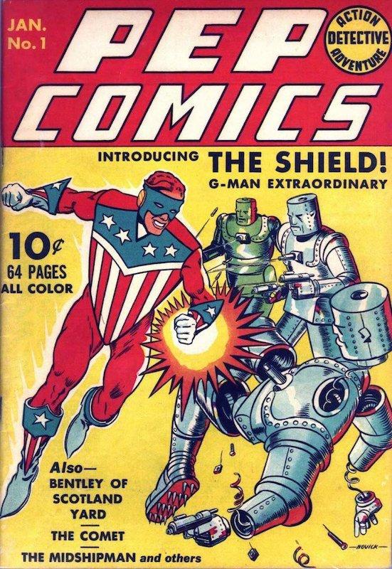 Copertina di Pep Comics #1 dove debutta the Shiled della MLJ Magazines. (1940, unidci emsi prima del cap America comics #1)