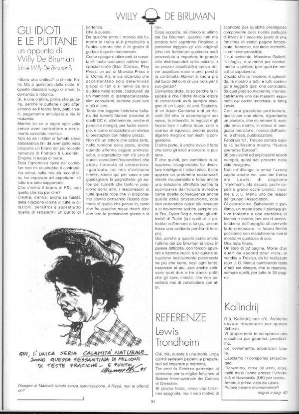 pagina 34 della pro-zine Schizzo (ottobre 1991), in cui fu pubblicato l'articolo di luigi bernardi sotto pseudonimo