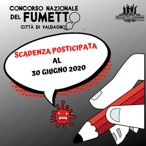 nuovo banner, con scadenza posticipata, del concorso nazionale del fumetto, Città di Valdagno