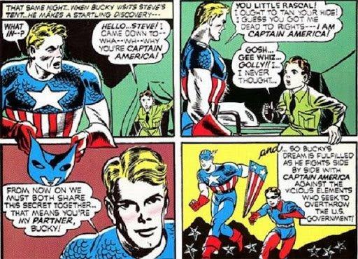 """Le vignette che segnano l'ingresso dell'attendente (""""sidekick"""") adolescente, Bucky, come era in uso all'epoca per attrarre il pubblico dei teenager."""