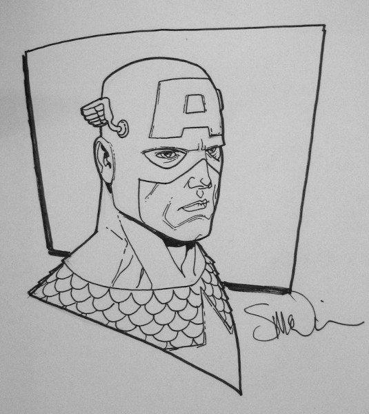 Capitan America, in assoluto il protagonista di civil War, schizzo di Steve Mc Niven.  Per gentile concessione dal suo sito © degli aventi diritti