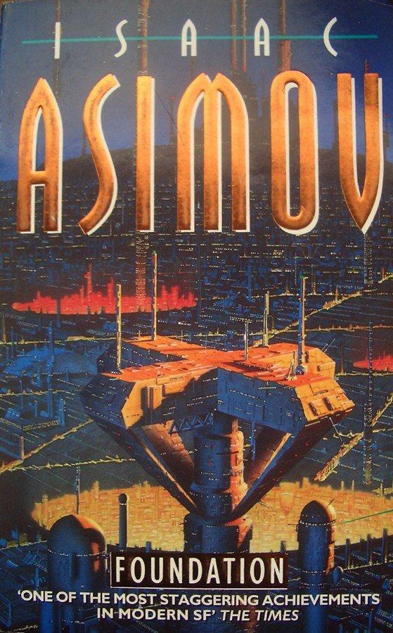 Una delle tante copertina del primo romanzo del ciclo della fondazione, di Isaac Asimov