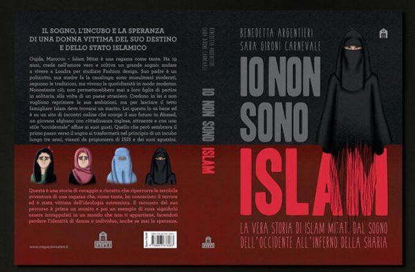 Copertina del graphic novel: Io non sono Islam La vera storia di Islam Mitat,  dal sogno dell'Occidente all'inferno della Shari. immagine estratta sito dell'illustratrice Sara Gironi Carnevale