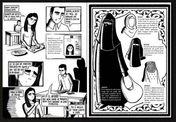 Due pagine interne del graphic novel: Io non sono Islam La vera storia di Islam Mitat,  dal sogno dell'Occidente all'inferno della Shari. Immagine estratta sito dell'illustratrice Sara Gironi Carnevale