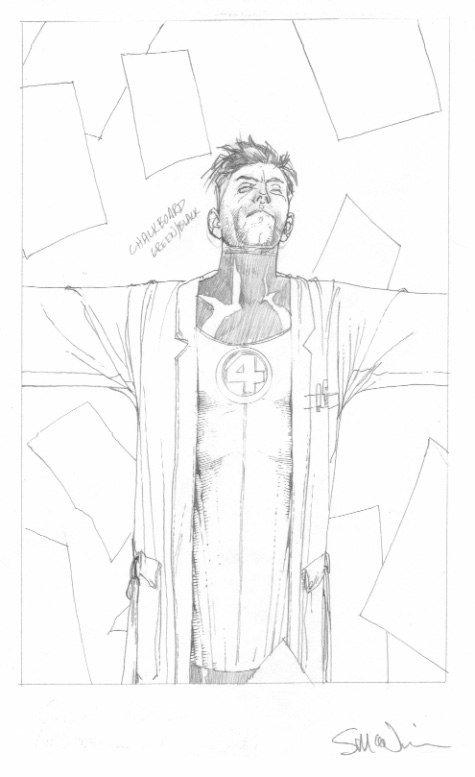 Reed Richards, uno dei protagonisti di civil War.  Poteva essere l'Hari Seldon dell'universo Marvel ma non lo è stato... Vignetta di Steve Mc Niven. Per gentile concessione dal sito dell'autore