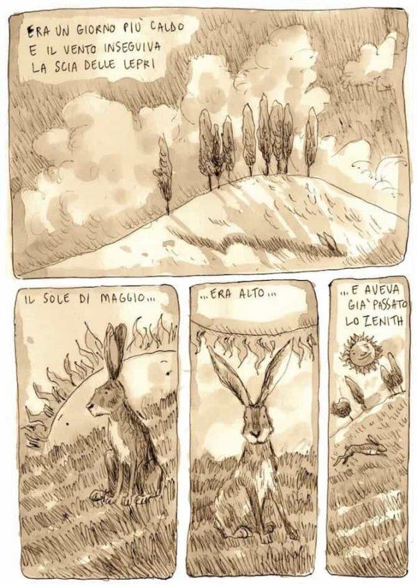 """Altra tavola del racconto """"La collina dei pioppi"""". Pagina estratta da """"Murubutu, RAPconti illustrati, di Ernesto Anderle."""