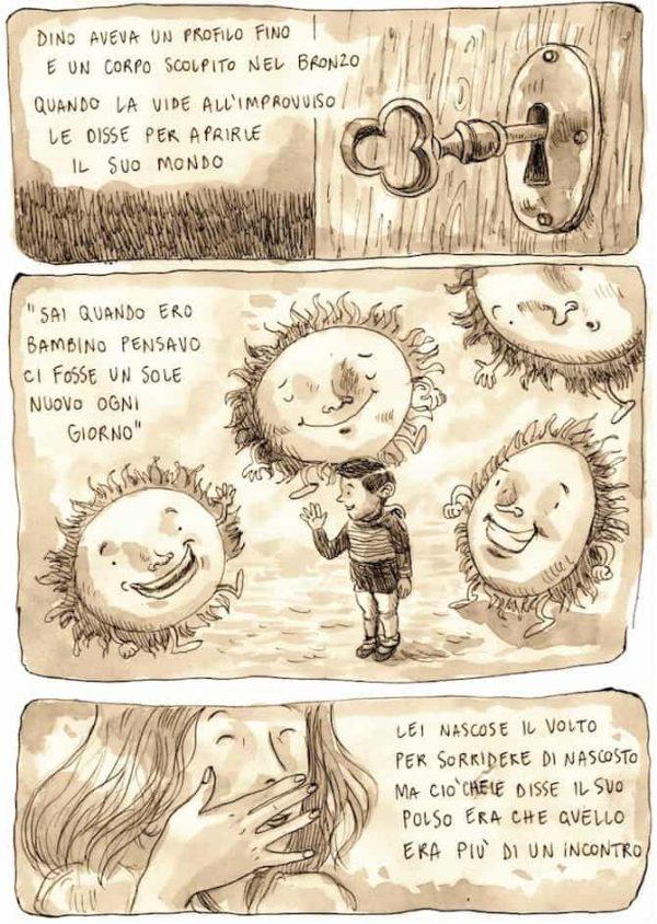 """Tavola del racconto """"La collina dei pioppi"""". Pagina estratta da """"Murubutu, RAPconti illustrati, di Ernesto Anderle."""