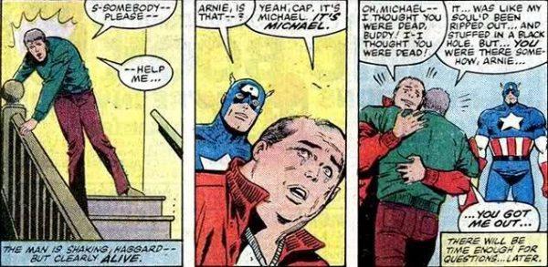 Sequenza da Cap. America del 1982, nella quale il capitano accetterà serenamente la decennale convivenza del suo ex-compagno di scuola Arnie Roth (ebreo e gay) con l'insegnante Michael.