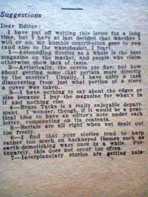 prima parte della lettera scritta da Asimov che venne pubblicata nella rubrica dei lettori del numero di Febbraio di ASTOUNDING del 1935