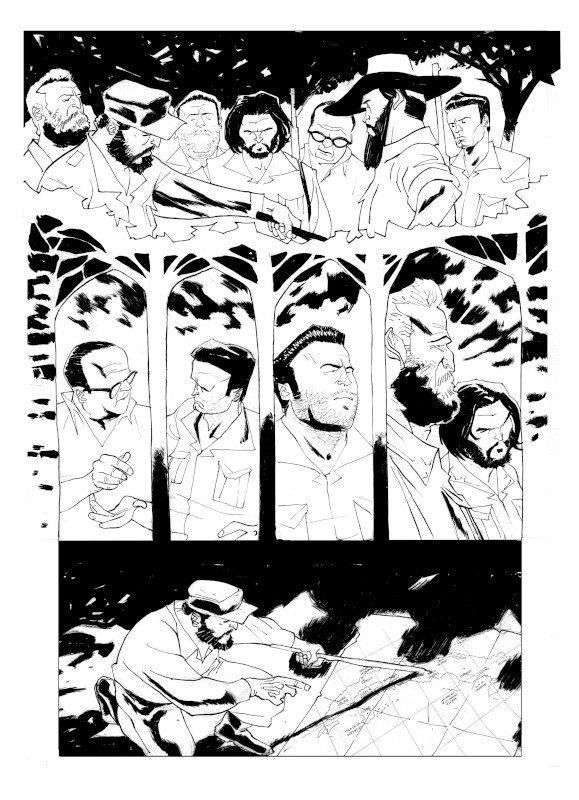 """Pagina 49 estratta da """"Que viva El Che Guevara"""", testi di Marco Rizzo e disegni di Lelio Bonaccorso © degli aventi diritti"""