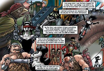 """Qui possiamo vedere dove Billie ha acquisito alcune delle """"abilità poco raccomandabili"""" che menziona in Grandville Bête Noire, inclusa la spettacolare acrobazia in moto a pagina 77."""