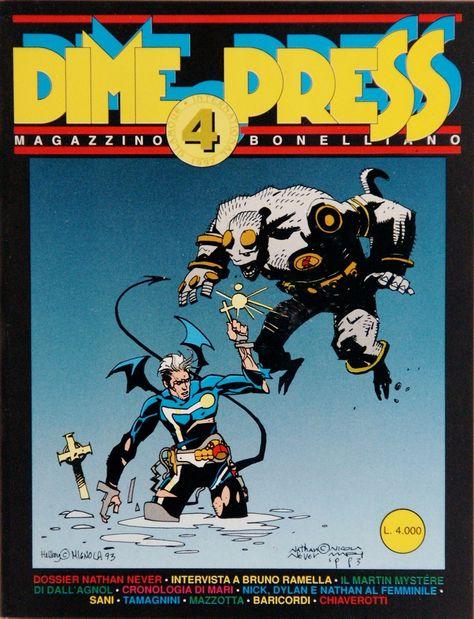 """Copertina della rivista Dime Press n.4, con una copertina di ispirazione """"Mignoliana"""" di Nicola Mari"""
