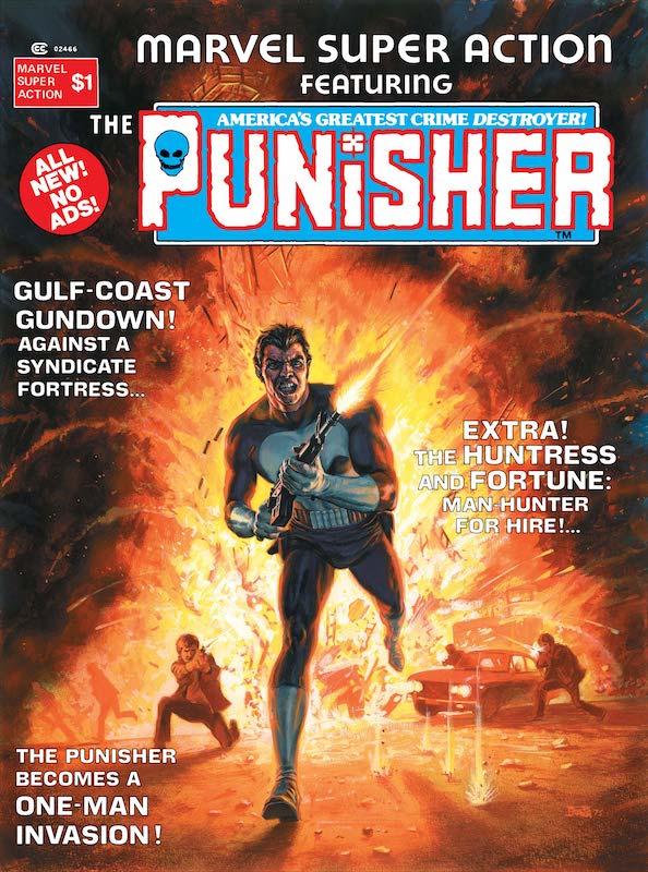 Copertina de Marvel Super Action (1976) #1, che conteneva la seconda storia autonoma de Il Punitore