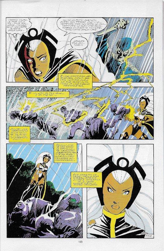 La pagina 103 dell'albo Marvel Magazine # 11, Marvel Italia (Mag 1995),  che contiene, nella quarta vignetta, il disegno di John Bolton visualizzato sopra (s330).