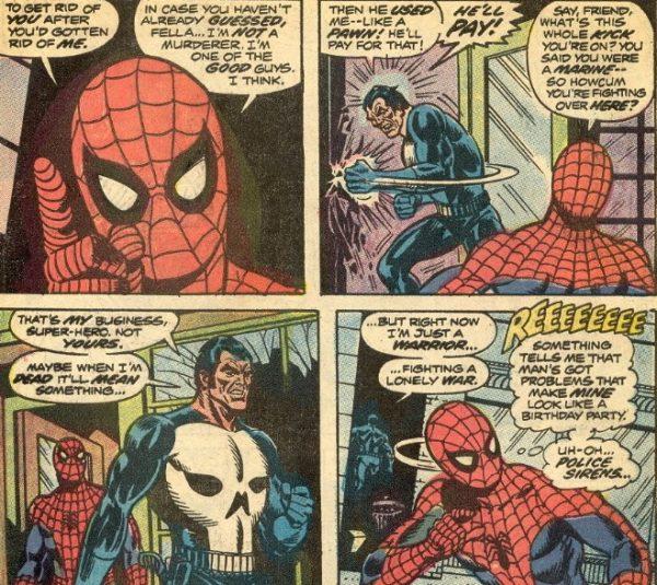 Sequenza di vignette tratta dall'ultima pagina di  AMAZING SPIDERMAN 129.