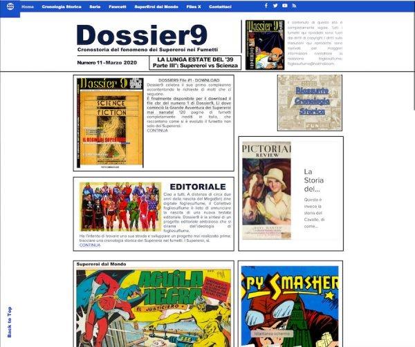 Home page del sito Dossier9 nel mese di marzo 2020, in piena quarantena