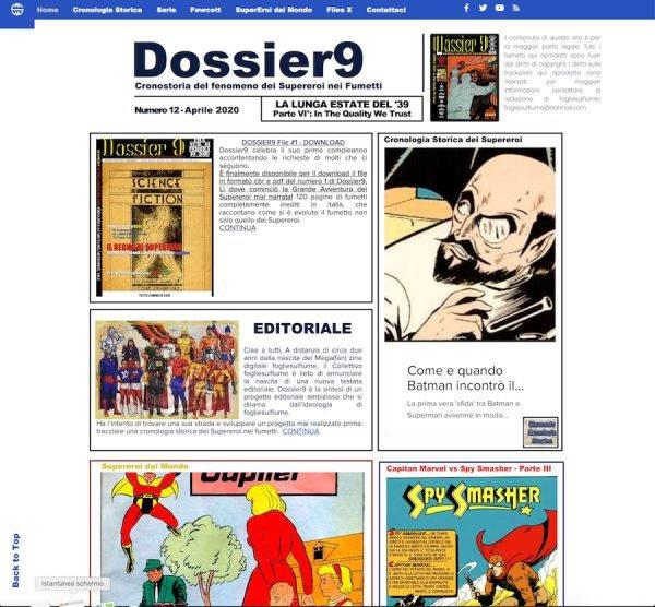 Home page del sito Dossier9 nel mese di aprile 2020 (sempre in piena quarantena)