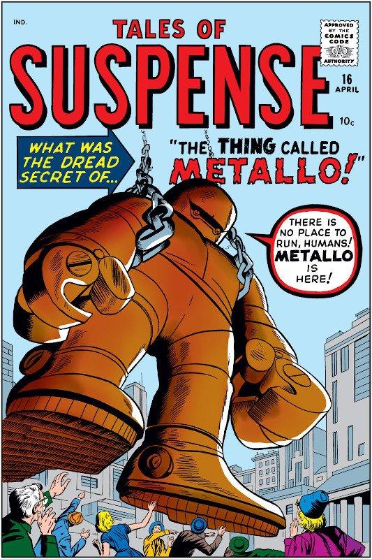 Nel gennaio 1961 , ad esempio, usciva con questa copertina il n.16 di TALES OF SUSPENSE , con la storia portante su un uomo malato che occupava una gigantesca armatura metallica.