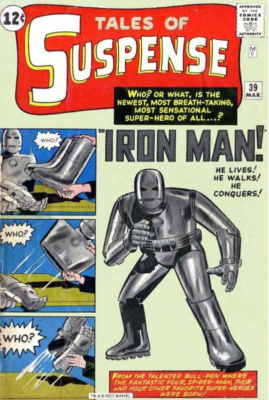 E nel Dicembre 1962, ai Fantastici Quattro e ad Ant-Man, a Hulk e a Thor si aggiungeva il protagonista del n.39 della stessa collana, dal fantasioso nome di IRON MAN.