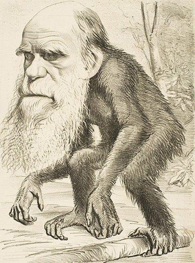 Nel mondo Grandville, Darwin era uno scimpanzè, spesso caricaturato così nella vita reale.