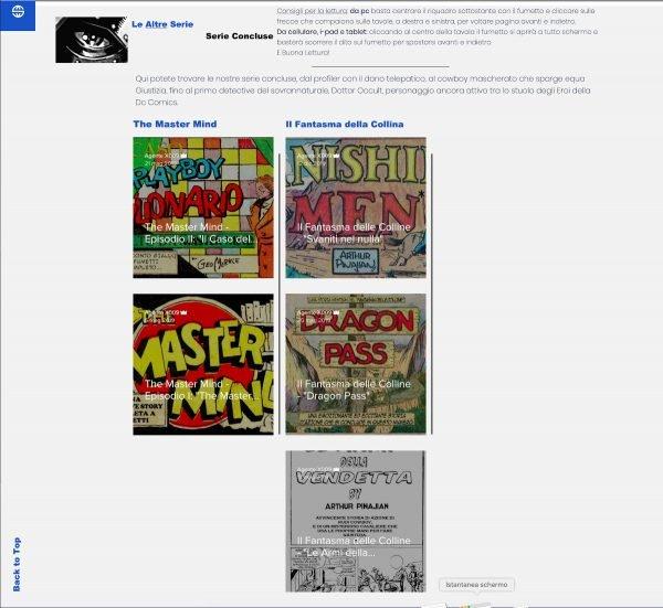 """Home page del sito Dossier9: digitando il menù a """"Storie"""" si può accedere ad una sezione cone alcune serie leggibili"""
