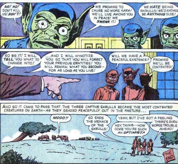 """Confrontate il look dell spie marziane nella storia """"I am Robot X"""" del 9/61 (prima e seconda immagine) con quello degli agenti skrull, i primi alieni del nuovo universo Marvel, infiltrati a loro volta in FANTASTIC FOUR 2 del 1/62... (questa tavola)"""
