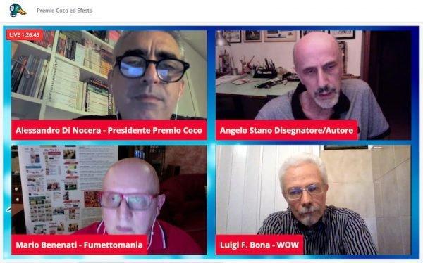 """Screenshot durante l'assegnazione del premio ad Angelo Stano, con la presenza anche di Mario Benenati di """"Fumettomania Factory"""""""