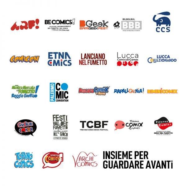 Grafica Festival del Fumetto nazionali, con tutti i loghi dei 23 Festival Italiani che hanno firmato l'appello al governo.