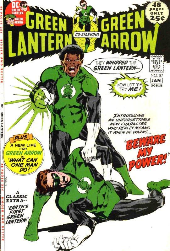 JOHN STEWART irrompe invece (in LV 87) come prima Lanterna di colore, espressione della richiesta afroamericana di parità civile che in quello stesso 1968 dilaga con le parole immortali di Martin Luther King