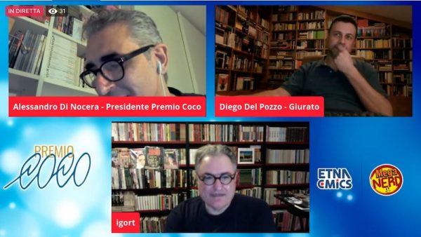 Screenshot durante l'assegnazione del premio a Igort e chiacchierata di Alessandro e Diego con lui