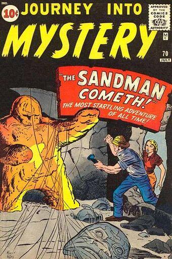 Cover dell'albo JOURNEY INTO MYSTERY 70 del 1962, con l'Uomo Sabbia.