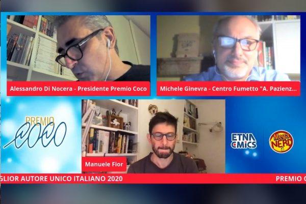 """Screenshot durante l'assegnazione del premio a Manuel Fior, con la presenza di Michele Ginevra, del Centro fumetto """"Andrea Pazienza"""""""