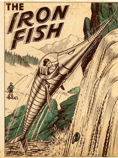 """The Iron Fish era un fumetto avventuroso pubblicato nella collana inglese per bambini """"The Beano"""", apparso per la prima volta nel 1949 disegnato da Jack Glass, e pubblicato sporadicamente per decenni."""