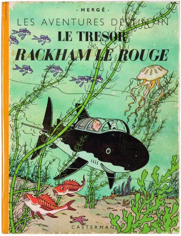 """L'ultima vignetta è un omaggio alla copertina del volume di Tintin del 1944 """"Le Trésor de Rackham le Rouge"""" (Il tesoro di Rackham il rosso) di Hérge."""