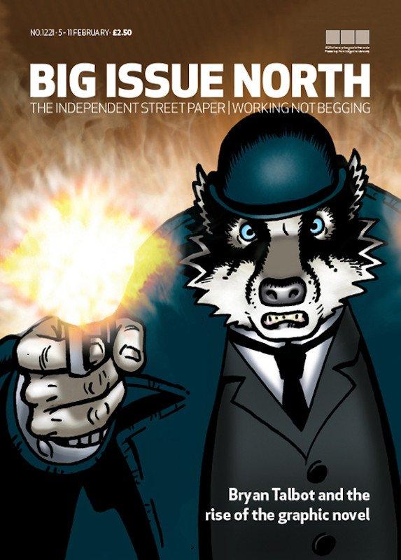 Grandville force Majeure, pag. 131: Questa vignetta è stata usata per una cover della rivista Big Issue North. (The Big Issue è un giornale di strada edito in otto nazioni, venduto da persone senza fissa dimora, NdR)