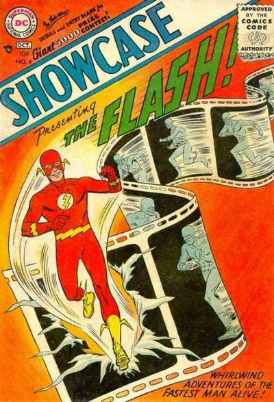 """L'evento catalizzatore del cambiamento, così epocale da essere poi utilizzato da tutti per calendarizzare il trapasso dalla cosiddetta """"Golden Age"""" alla """"Silver Age""""- la Rinascita dei Supereroi - fu la comparsa di un nuovo personaggio dal colore di fiamma e la velocità del fulmine, che erompeva dalla copertina del n.4 della rivista SHOWCASE , un'antologia di racconti a fumetti a tema fantascientifico."""