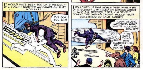 Lo stesso Jack Kirby nella creazione del parco-personaggi del nuovo universo Marvel avrebbe derivato fattezze ed effetti vari dalle sue storie trascorse: i mutanti Quicksilver (in questa immagine e nella successiva) e lo stesso Professor X devono molto a figure comparse in STRANGE TALES 67 e 69, ancora nel lontano '59.