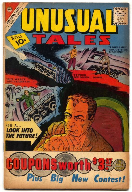 Copertina del n. 27 della rivista Unusual Tales (aprile 1961) che mostra un primo piano di un personaggio decisamente identico a NORMAN OSBORN,
