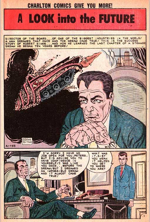 """N. 27 della rivista Unusual Tales (aprile 1961):  questa tavola d'apertura ha un effetto a dir poco sconvolgente. Vediamo infatti """"Norman"""" alla sua scrivania di dirigente mentre, con la postura sprezzante che gli sarà abituale in futuro, ammaestra un giovane postulante di nome """"Peters""""...in tutto e per tutto UGUALE A PETER PARKER...!"""