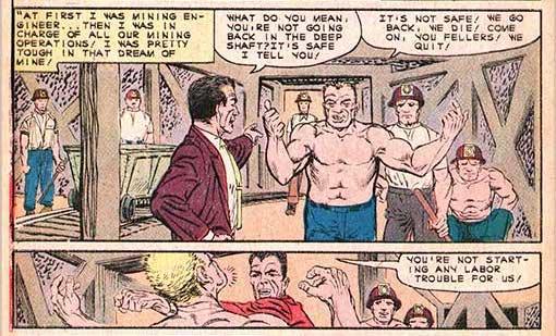 """N. 27 della rivista Unusual Tales (aprile 1961): pagina 4 """" della storia """"A Look in the Future"""", nella quale """"Norman"""" si dedica addirittura ad abbattere con un pugno un massiccio personaggio in tutto e per tutto identico al futuro UOMO SABBIA...!"""