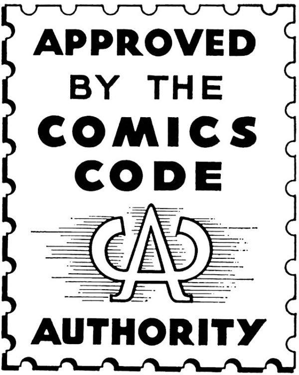 """il """"bollino"""" del comics Code Authority che veniva inserito nella copertina degli albi USA dal 1959 per 15 anni"""