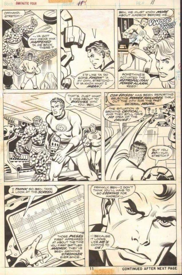 pagina originale di Fantastic four, di Joe Sinnot